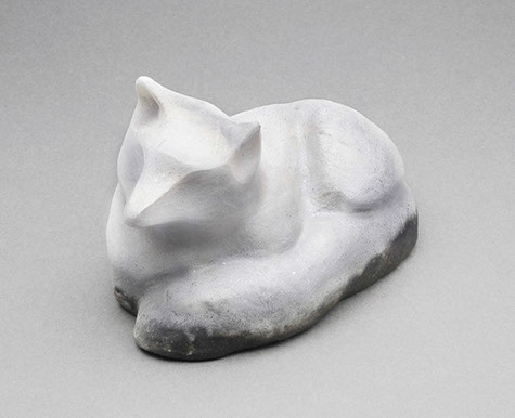 "Arctic Fox - pit fired and micaceous clay 6"" long"