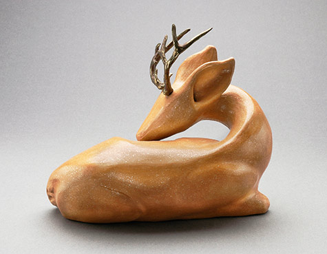 "Stag - micaceous clay, bronze antlers 8"" long"