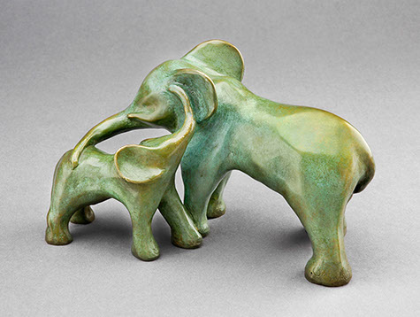 "Forest Elephants - bronze 7"" long"