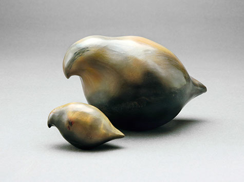 "Quails - burnished pit fired clay 4"" wide"